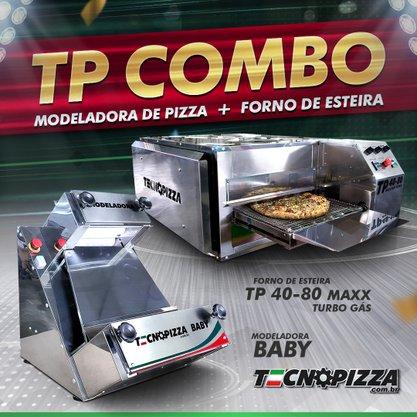 Forno de Esteira TP 40-80 Maxx Turbo Gas + Modeladora de Pizza Baby