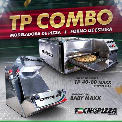 Forno de Esteira TP 40-80 Maxx Turbo Gas + Modeladora de Pizza Baby Maxx