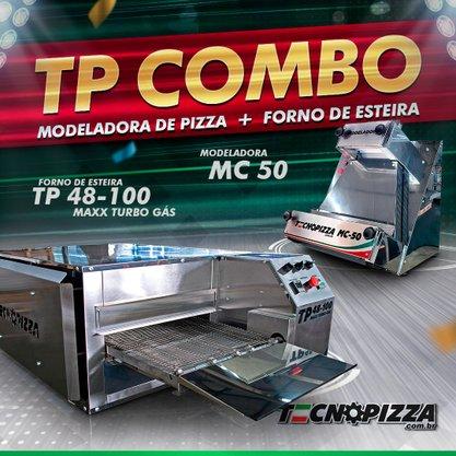 Forno de Esteira TP 48-100 Maxx Turbo Gás + Modeladora de Pizza MC-50